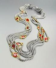 GORGEOUS Silver Box Chain Cables Red CZ Crystals 5 Strands Magnetic Necklace