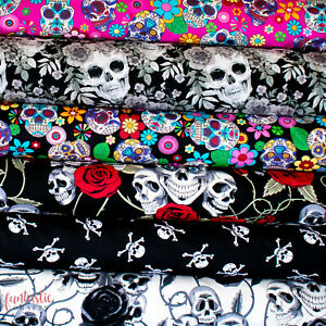 Halloween Cotton Fabric Grey Black Skulls Floral Rose Gothic Sewing 100% Cotton