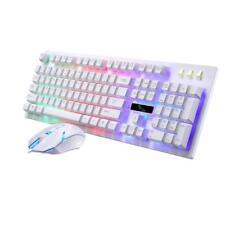 LED Illuminated Ergonomic Backlight Wired Gaming Keyboard Mouse Set White