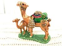 Jeweled Trinket Enamel Hinged Trinket Box Standing Mom & Baby Camel Rhinestones