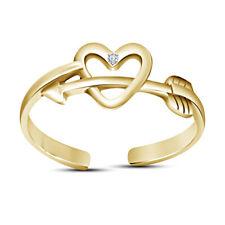 Leaf Fancy women's Jewelry Toe Ring 14k Yellow Gold Finish Hearts Arrow