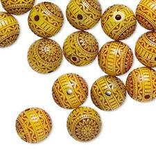 2193 Bead Acrylic Yellow Round 10mm PK50 *UK EBAY SHOP*