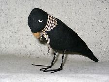 NEW~Sulking Black Crow Raven Fabric Figurine Wire Feet Halloween Gothic