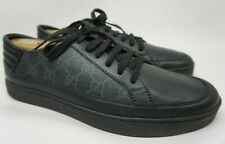 7682c2852 Gucci Common Low Top Black GG Sneakers Men's Shoes Size 8.5 G/ 9.5 US