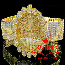 Iced Out Khronos Genuine Diamond Joe Rodeo Yellow Gold Cluster Bezel Mens Watch