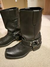 VTG Durango Men's 10.5 EE Black Leather Square Toe Silver Harness Biker Boots
