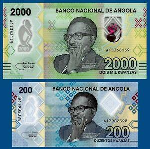 SET Angola 2000 + 200 kwanzas 2020 Polymer UNC