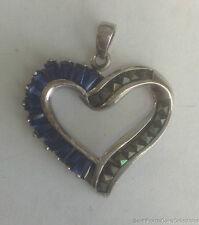 ESTATE JEWELRY LADIES BLUE GEMSTONE & MARCASITE STERLING SILVER HEART PENDANT