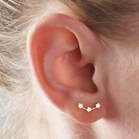 Girl Rose Gold Women Silver Three Stars Little Star Tiny Star Stud Earrings