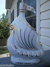 "LARSEN ""Invincible"" OLD & RAGE DESIGN White LIMOGE Porcelain EMPTY Cognac Bottle"