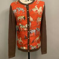 J McLaughlin S Womens Silk Front Cardigan Sweater Brown Red Horses  Equestrian