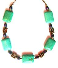 "Genuine turquoise nugget necklace with shell heishi spacer beads, 20"" long"
