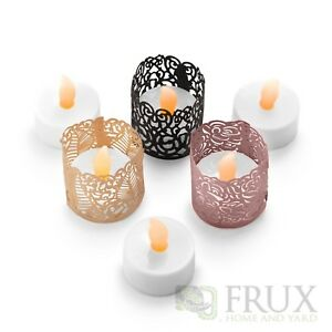FLAMELESS LED TEA LIGHTS - 24 Yellow Flickering LED Battery Tealight Candles