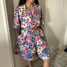 Vintage Lizwear Two-Piece Blouse Sz S Shorts Sz 12 Floral Hawaiian Outfit Set