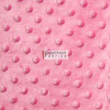 "Minky Minkee Chenille Dot Soft Fabric Cuddle Pink 60""W 15 Yard Bolt Sell!"