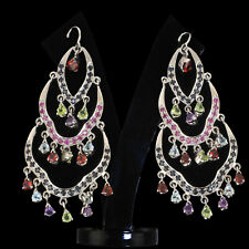 Xquisite Natural Ruby Sapphire Earrings with Multi Gemstones 925 Sterling Silver
