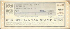 1964 USIR Special Tax Stamp - Mahanoy City, PA