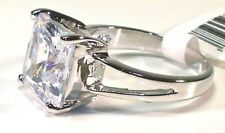 RING C'este di amor Inspired 5 Kt HUGE!!! Clear CZ Solitaire Rhodium Band Size 5