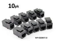 10-PK CAT6 Female/Female RJ45 Ethernet Black Keystone Jack Coupler, WP-C02BKT-10