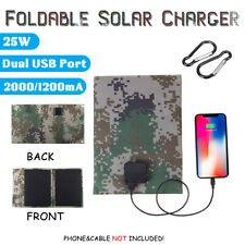 25W 5V Foldable Solar Panel Portable Charger Power Bank Camping Phone Dual USB