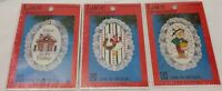 Lot of 3 Christmas Ornament Kits Lace Cross Stitch Goose~Home~Drummer Boy 1989