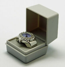 Ringuhr Ringbox Oval Metall Strass violett