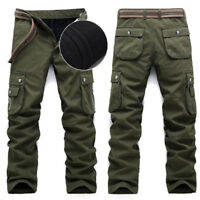 Men's Casual Fur Lining Winter Warm Thicken Cargo Pants Cotton Overalls Trousers