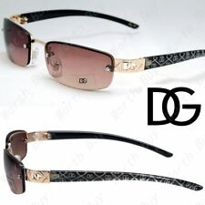 New Womens DG Eyewear Small Rimless Rectangular Sunglasses Shades Fashion Wrap