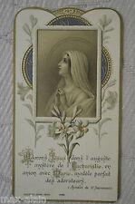 Image Pieuse - Chromolithographie ** Adorons Jésus dans l'Auguste Eucharistie **