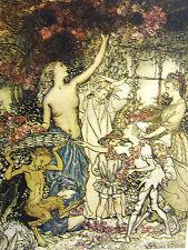 Arthur Rackman Eve in Garden of Eden Centaur Elves Boy 1918 Antique Print Matted