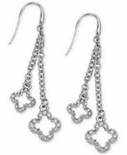 Marie Claire Silver Tone Crystal Chain Clover Drop Earrings