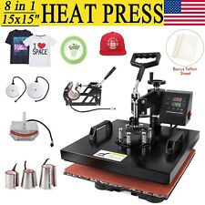 "15x15"" 8 in 1 Heat Press Machine Digital Transfer Sublimation T-Shirt Mug Hat A"