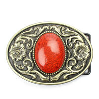 Hot Antique Arabesque Turquoise Belt Buckle Metal Western Cowboy Pattern Buckles