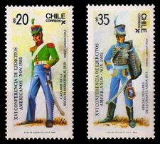 CHILE 1985-American Armies, Escort fo Light Infantry 1818-Set of 2-MNH-S.G. 1032