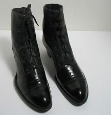 "Roberts, Johnson & Rand c1900 Women's 6"" Laceup Black Leather Shoes Star Society"