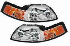 99-04 Ford Mustang Chrome Housing Headlights Amber SVT Convertable Seleen Cobra