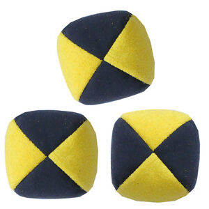 Yellow/ Black Set of 3 Moleskin Juggling Balls - Faux Suede Quality Pro Thuds