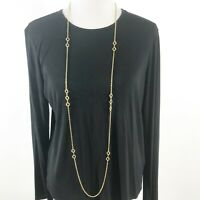 """Vintage Trifari Crown Long Circle Necklace Women Gold Tone Chain Link Signed 52"""""""