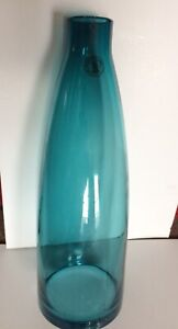 WHITEFRIARS STYLE ART GLASS AQUAMARINE/ TEAL VASE,WITH LABBEL?,MID 20TH CENTURY