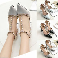 Summer Womens Pointed Toe Ankle Strappy Pumps High Heels Rivet Sandals Shoes