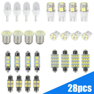28x White Car Interior LED Lights For Dome License Plate Lamp Auto Accessories
