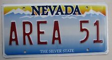 "NEVADA Vanity License Plate "" AREA 51 "" ALIEN ALIENS SPACEMEN SECRET TEST SITE"