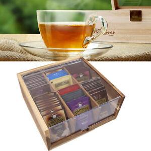 Teebox Bambus Teekiste Teedose Teebeutelbox Aufbewahrungsbox mit Deckel 6 Fächer