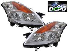OE Style Black Head Light Halogen DEPO PAIR Fits 2010-2012 Nissan Altima Sedan