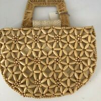 Beaded Straw Purse New Raffia Flowers A New Day Gift Spring Summer Natural