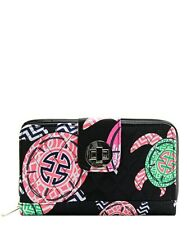 NGIL Black Under The Sea Turtle Quilted Wallet