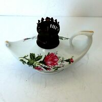 """Small WHITE FINGER w/ ROSES OIL LAMP w/ wick  4 1/2"""" T No Chimney Hong Kong"""