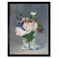 Edouard Manet French Flowers Crystal Vase Old Painting 12X16 Inch Framed Print