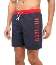 Authentic Mens Tommy Hilfiger Side Logo Swim Shorts Navy/Red Size Medium BNWT