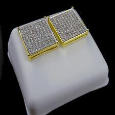 Yellow Gold Finish 14K G/P White Lab Simulated Diamond Square Stud Earring 14mm